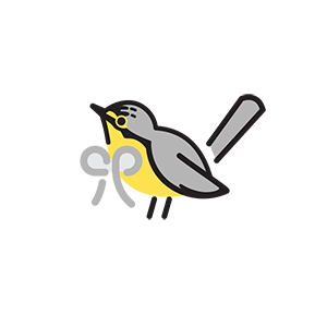 A cute graphic showing a Canada Warbler wearing a bow