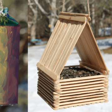Link to fun, do-it-yourself crafts. The photo features a bird feeder made of popsicle sticks!