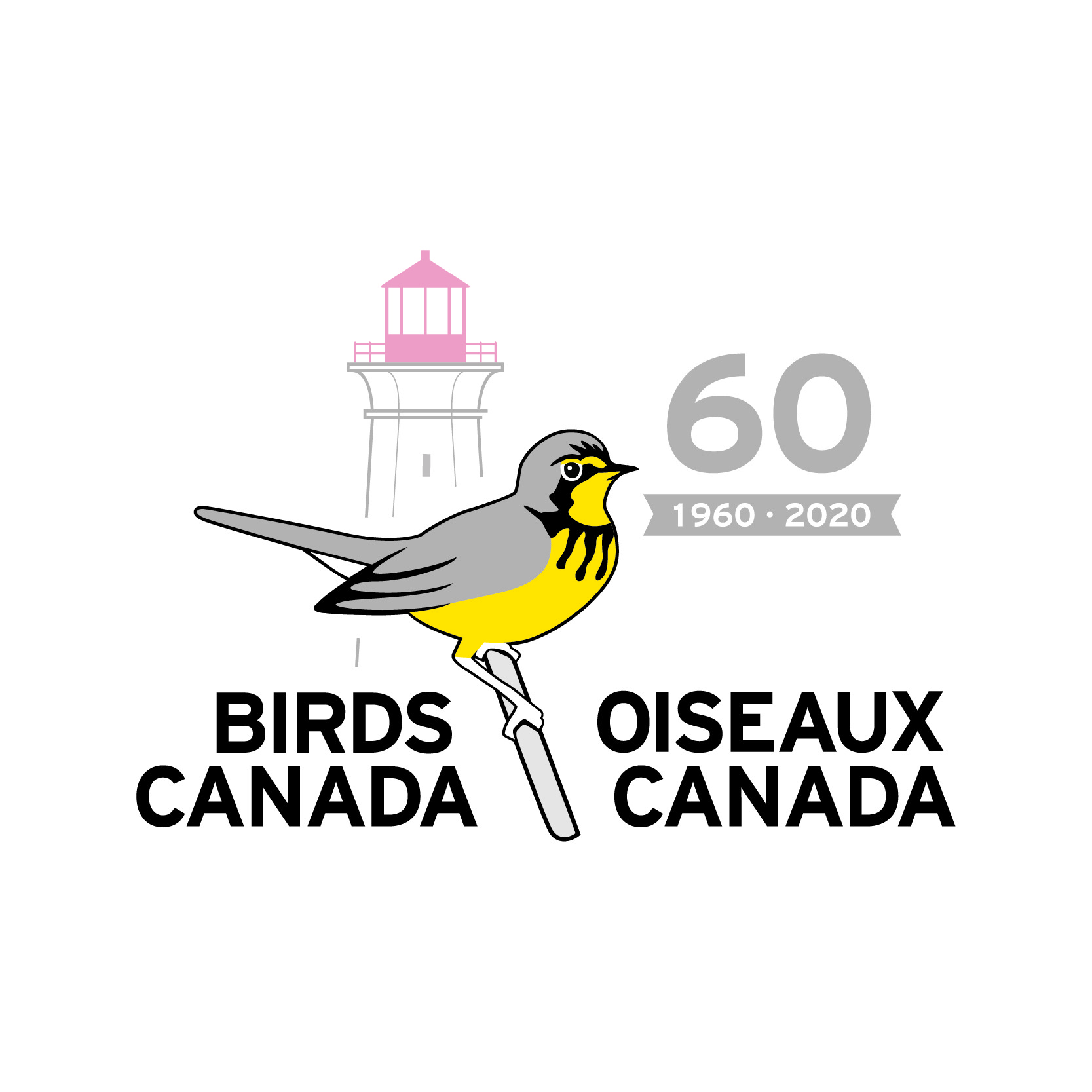 The Birds Canada 60th Anniversary Logo. A graphic with a Canada Warbler perched on a branch and a lighthouse in the background. In the corner is the number sixty in grey.